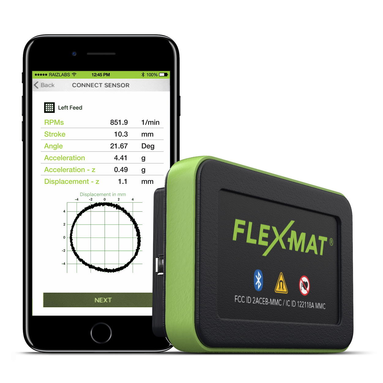 FLEX-MAT Sensor. App-controlled vibration analysis