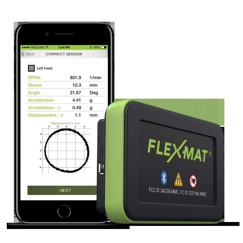 Sensor FLEX-MAT. Análisis de vibración controlado a través de una aplicación